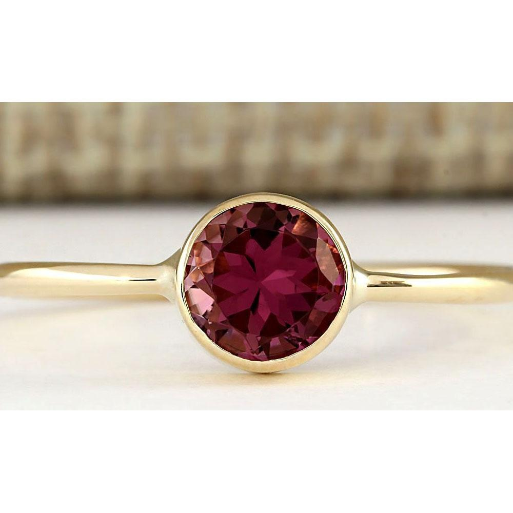 0.80 CTW Natural Pink Tourmaline Ring In 14k Yellow Gold