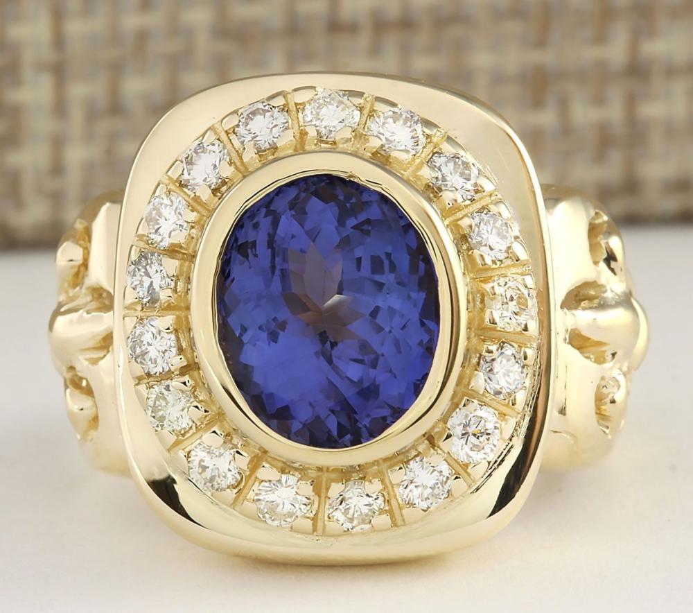 5.52 CTW Natural Mens Blue Tanzanite And Diamond Ring 14k Yellow Gold