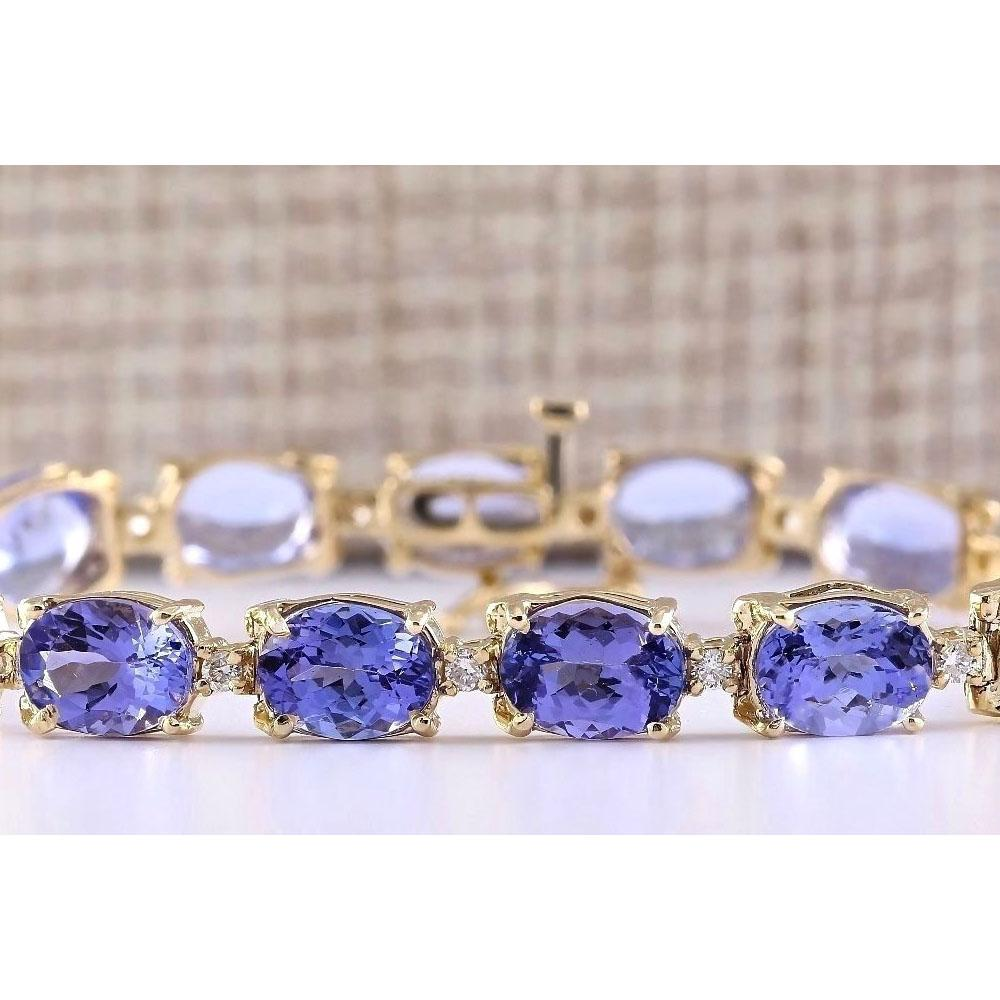29.50 CTW Natural Tanzanite And Diamond Bracelet In 18K Solid Yellow Gold