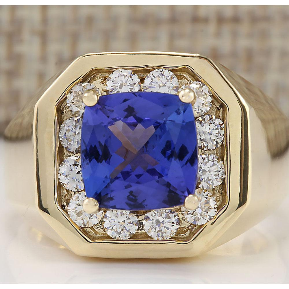 MENS 4.04 CTW Natural Blue Tanzanite And Diamond Ring 18K Solid Yellow Gold