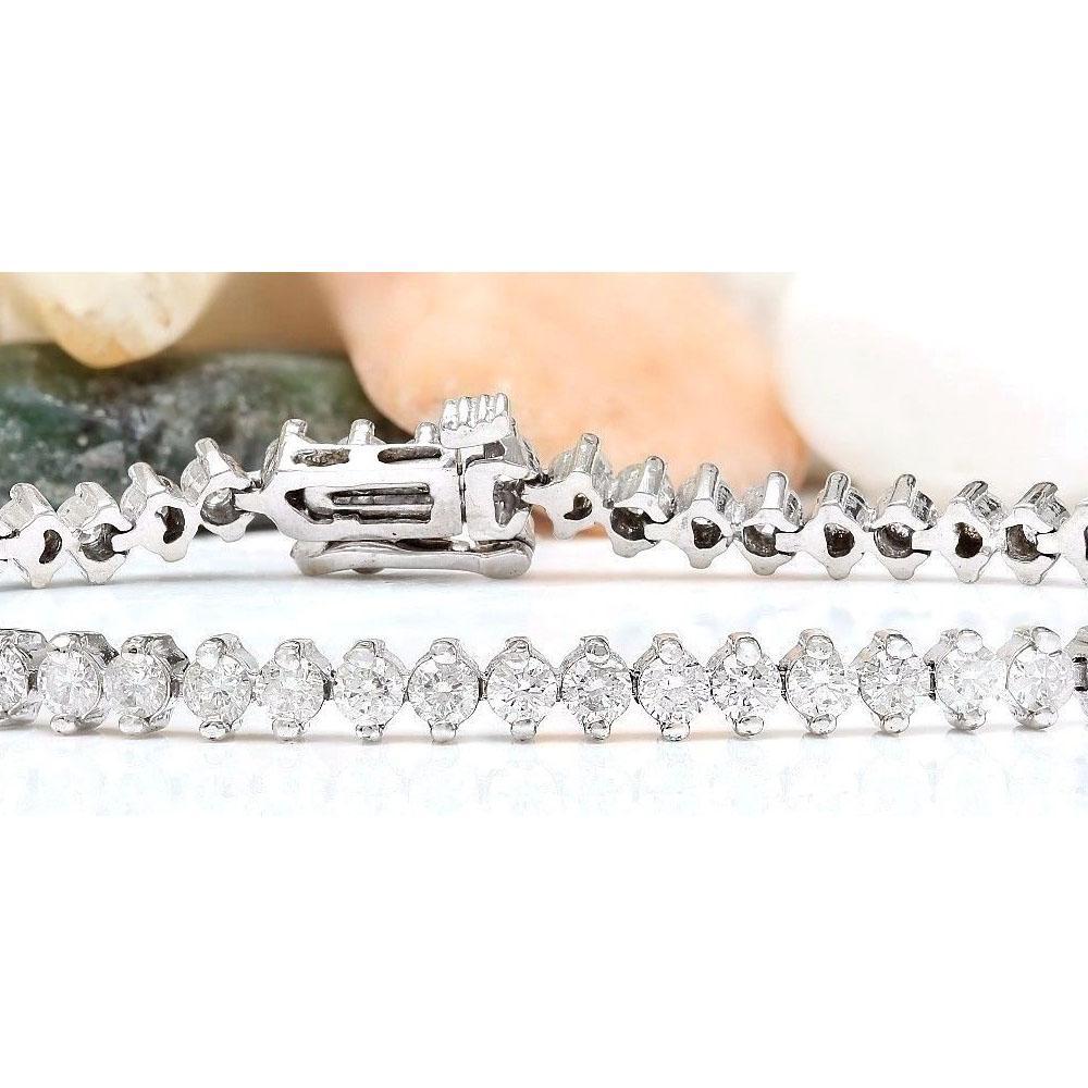4.20 CTW Natural Diamond 14K Solid White Gold Bracelet