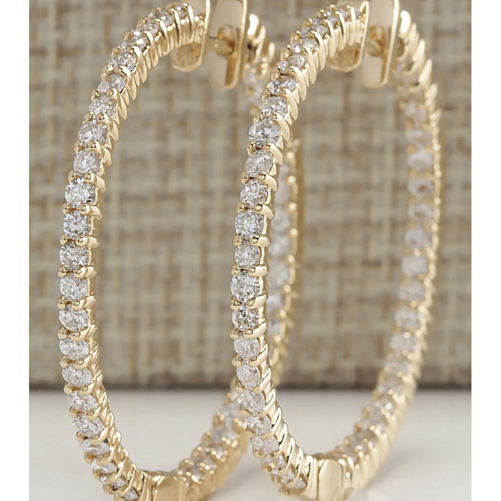 4.50 CTW Natural Diamond Hoop Earrings 18K Solid Yellow Gold