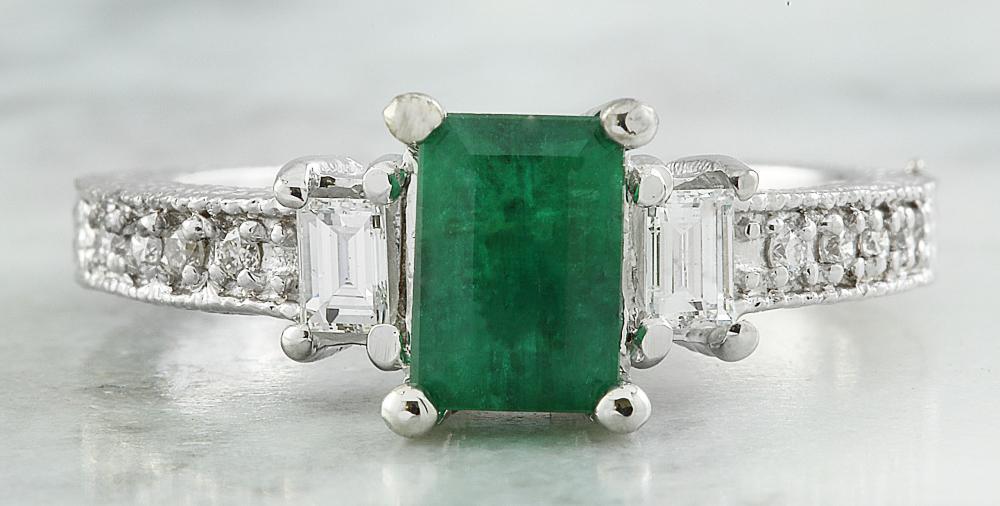 1.50 CTW Emerald 14K White Gold Diamond Ring