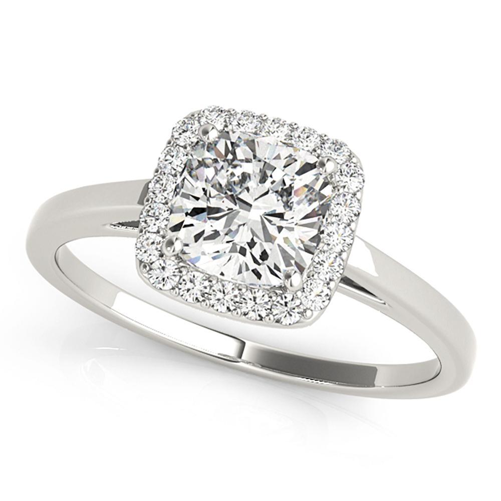 Natural 1.37 CTW Diamond Engagement Ring 14K White Gold