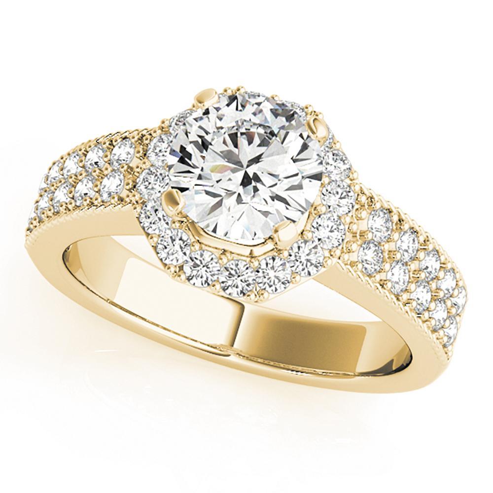 Natural 1.06 CTW Diamond Engagement Ring 18K Yellow Gold