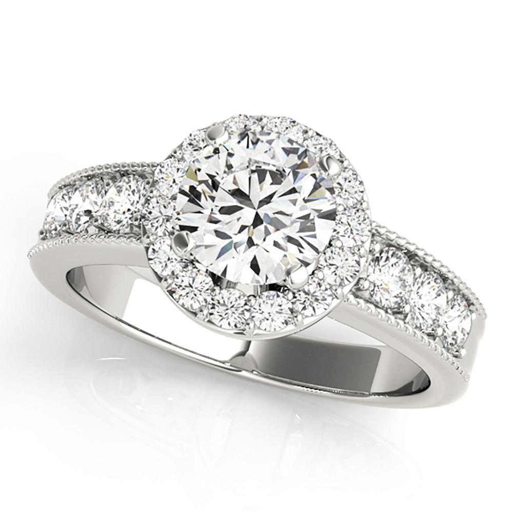 Natural 1.45 CTW Diamond Engagement Ring 18K White Gold