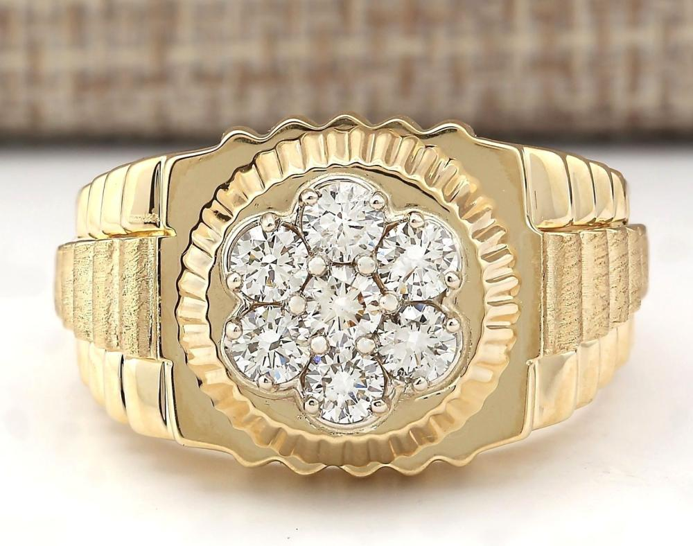 1.00 CTW Natural Mens Rolex Diamond Ring 14k Solid Yellow Gold