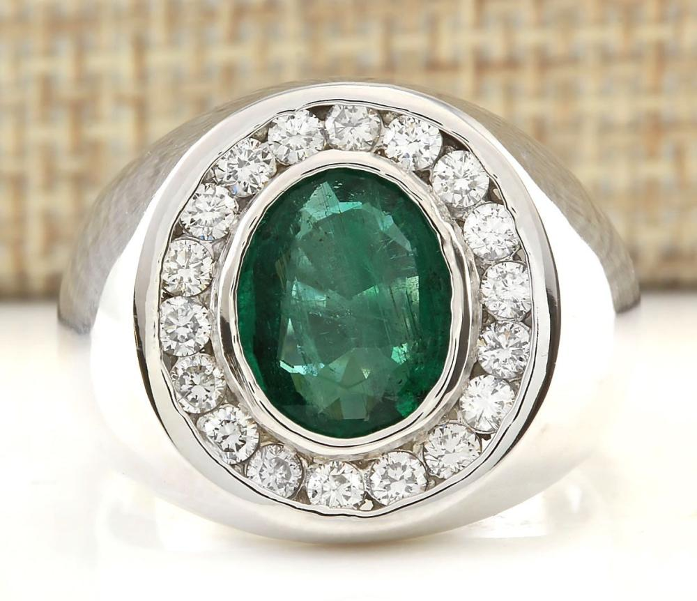 MENS 3.82 CTW Natural Emerald And Diamond Ring In 18K White Gold