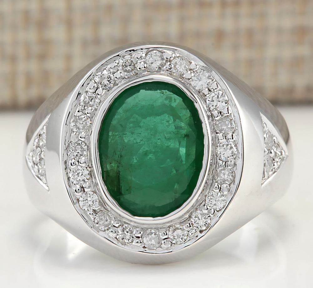 3.15 CTW Natural Mens Emerald And Diamond Ring In 18K White Gold
