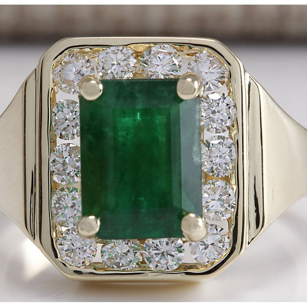 MENS 3.16 CTW Natural Emerald And Diamond Ring 18K Solid Yellow Gold
