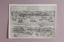 George Braun et Franz Hogenberg Calechut Celeberrimum Indiae Emporium, Ormus, Canonor, S. George Oppidum Mina 1572