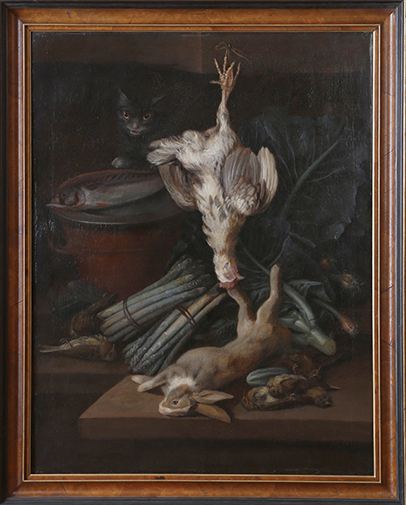 Georges William Sartorius (1759-1828) Nature morte aux trophées de chasse, légumes, pot de terre cuite et chat convoitant un poisson
