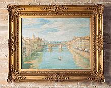 Fernando RIBLET (1873-1944)  Vue de Florence    Huile sur toile signée en bas à gauche, contresignée au dos sur le châssis