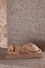 Maximilien Louis FIOT (1886-1953)  Lionne dévorant sa proie  1915  Terre cuite signée « M. F. » et datée sous la base
