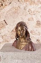 Raoul LARCHE (1860-1912)  Jésus enfant  circa 1900  Bronze à patine brune et dorée portant le cachet du fondeur Siot-Decauville, signé et numéroté T496
