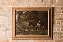 Aymar Alexandre PEZANT (1846-1916)  Vache dans un pré  1907  Huile sur toile signée et datée en bas à droite