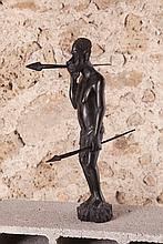 Grégoire MASSENGO (1910-1978)  Guerrier    Sculpture en ébène signée sous la base