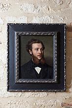 Frederico DE MADRAZO (1815-1894)  Portrait d'homme  1867  Huile sur panneau signé « F. de Me » et daté à droite vers le milieu