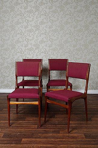 Carlo de Carli (1910-1999) Ensemble de quatre chaises