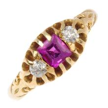 A late Victorian 18ct gold synthetic ruby and diamond three-stone ring. The