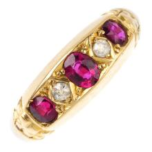 An early 20th century 18ct gold synthetic ruby and diamond five-stone ring.
