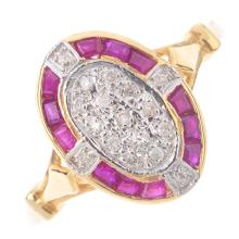 A ruby and diamond ring. The pave-set diamond oval cluster, with calibre-cu