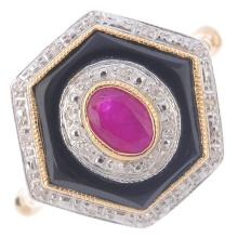 A diamond and gem-set dress ring. Of hexagonal outline, the oval-shape ruby