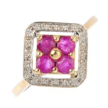 A 9ct gold ruby and diamond dress ring. Designed as a ruby quatrefoil, with