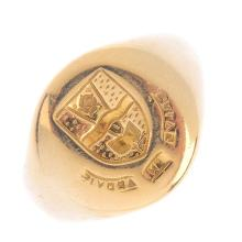A signet ring. The embossed seal reading 'Salve In Arovis' with a coat-of-a