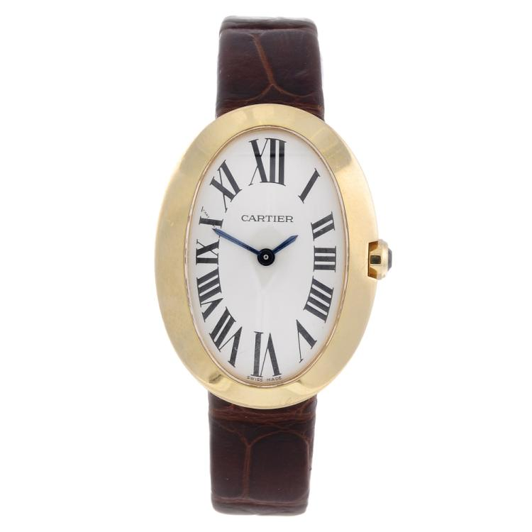 cartier an 18ct yellow gold baignoire wrist