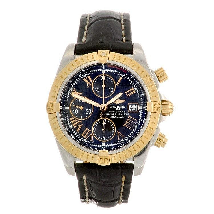 A bi-metal automatic gentleman's Breitling Chronomat Evolution wrist watch.