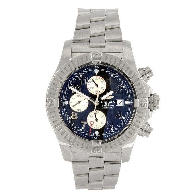 A stainless steel gentleman's Breitling Aeromarine Super Avenger bracelet watch.