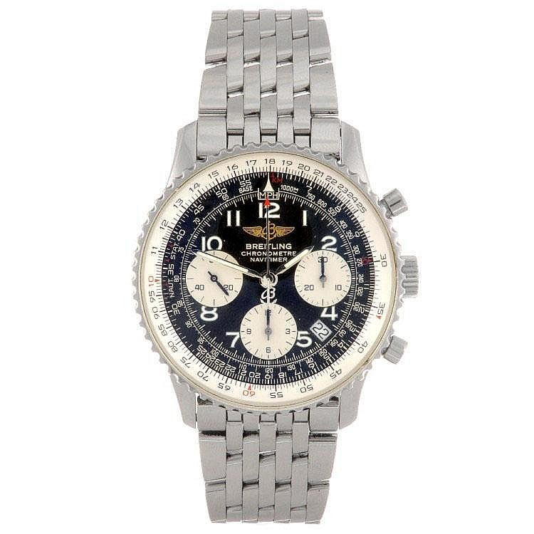 A stainless steel automatic chronograph gentleman's Breitling Navitimer bracelet watch.