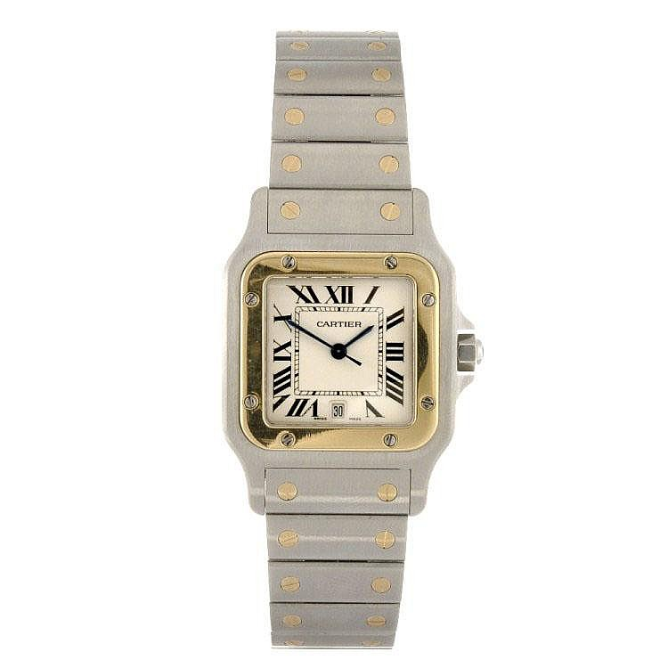 A bi-metal quartz Cartier Santos bracelet watch.