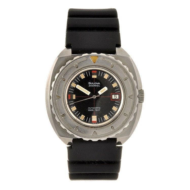 A stainless steel automatic gentleman's Bulova Snorkel wrist watch.