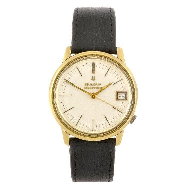 A gold plated electronic gentleman's Bulova Accutron wrist watch.