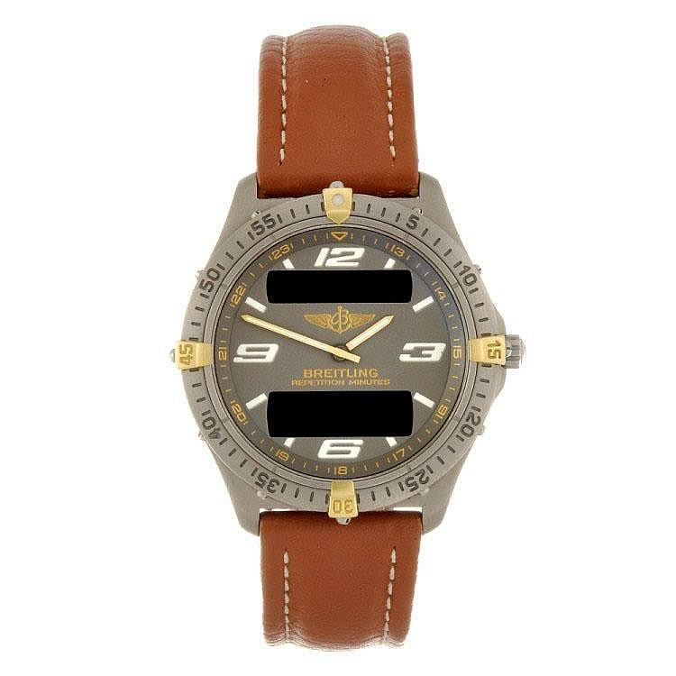 A titanium quartz gentleman's Breitling Aerospace wrist watch.