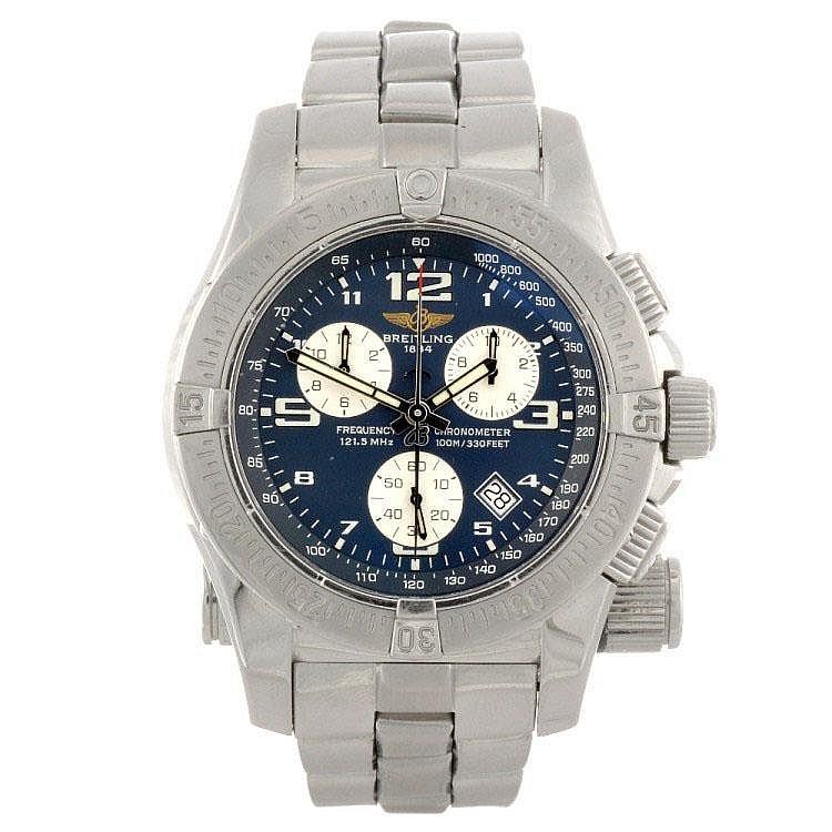 A stainless steel quartz chronograph gentleman's Breitling Emergency bracelet watch.