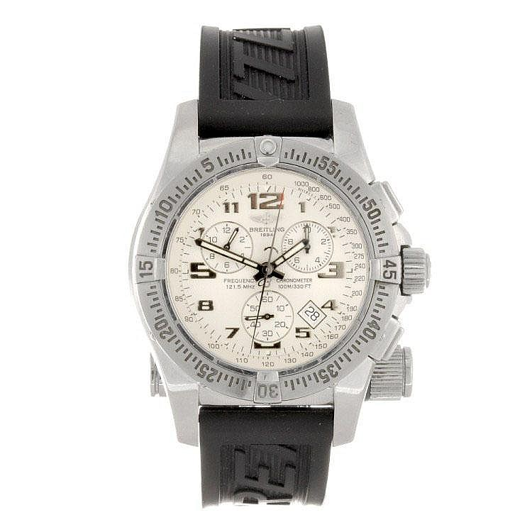 A stainless steel quartz gentleman's Breitling Emergency Mission wrist watch.