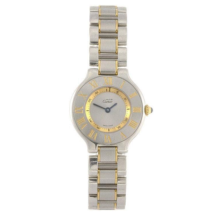 A bi-colour quartz Cartier Must de Cartier 21 bracelet watch.