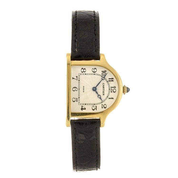 An 18k gold manual wind Cartier Cloche limited edition wrist watch.