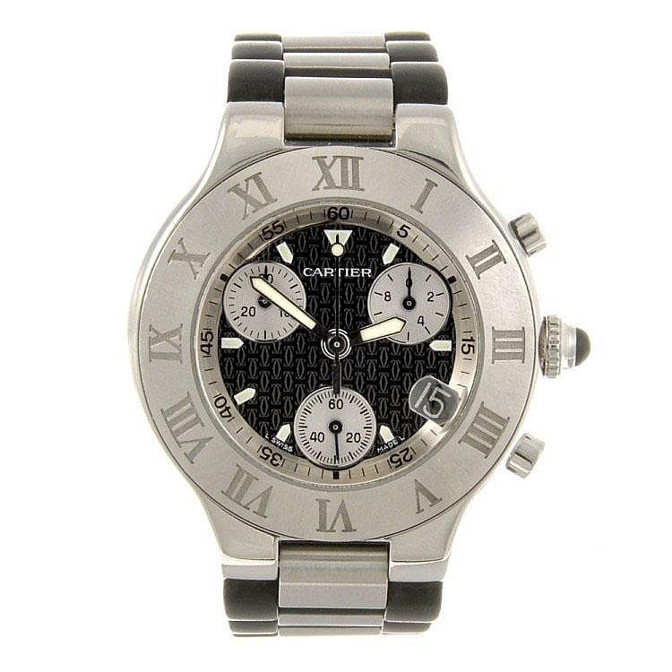 A stainless steel quartz Cartier Chronoscaph 21 wrist watch.