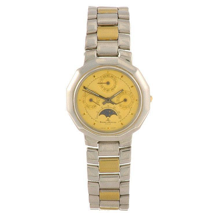 A stainless steel quartz Baume & Mercier Calendar Moon Phase bracelet watch.