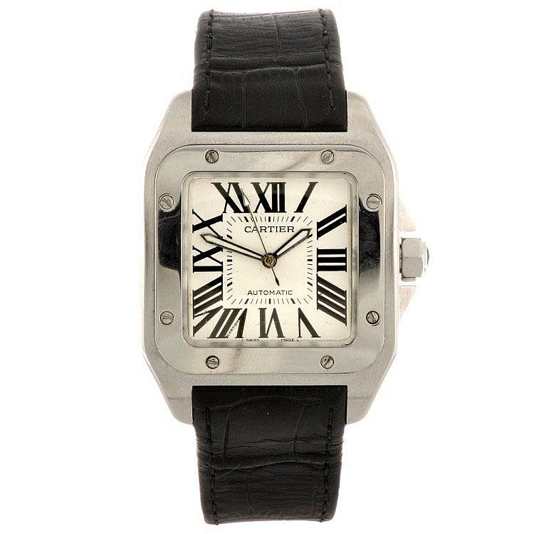 A stainless steel automatic Cartier Santos wrist watch.