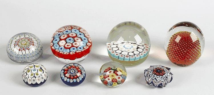 Nine various paperweights