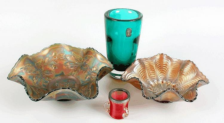 Cranberry silver top tyg, Whitefriars vase, Ruskin vase