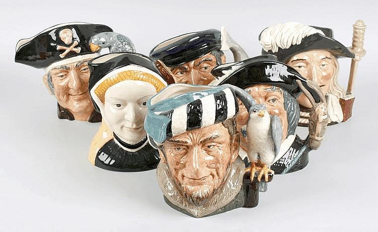 Nine Royal Doulton character jugs