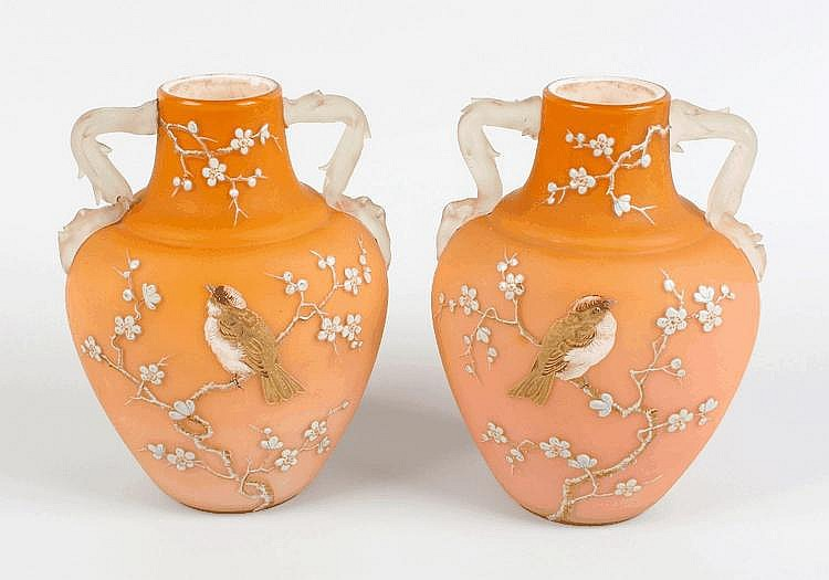 A pair of enamelled satin glass vases attributed to Webb of Stourbridge