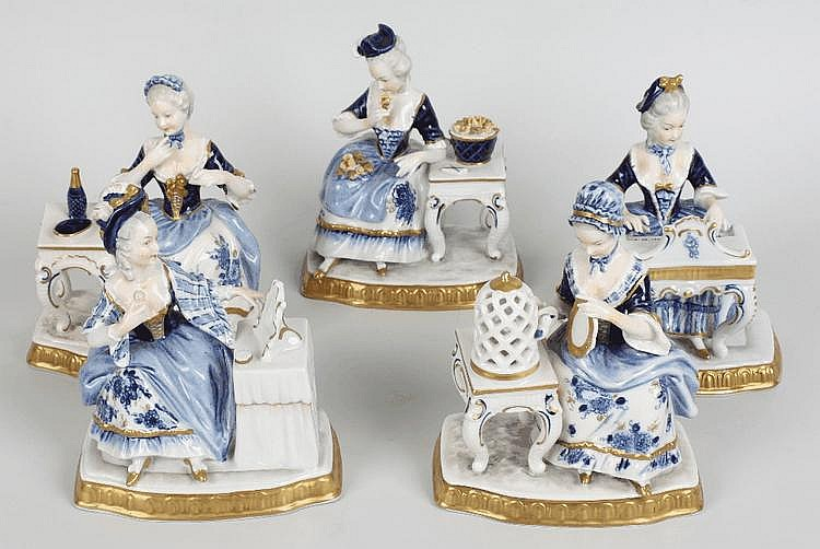 A set of five Unter Weissback porcelain figures