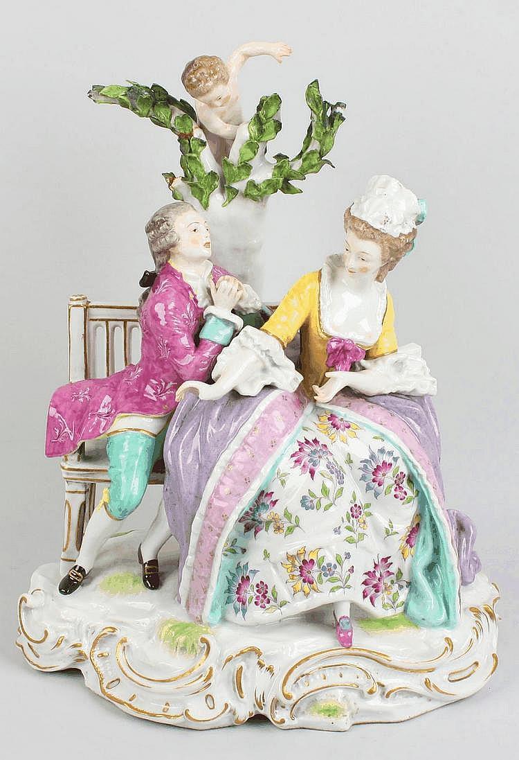 A Meissen-style porcelain figure group